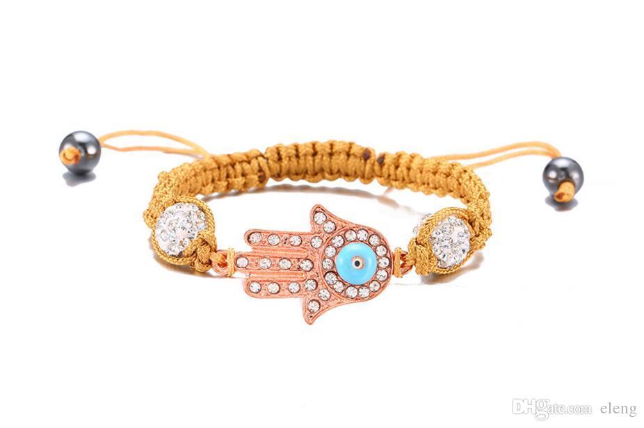 2018 Yeni varış moda Polimer kil topu matkap uçmak için Buda'nın palmiye dokuma bilezikler elmas yapış bilezikler NK