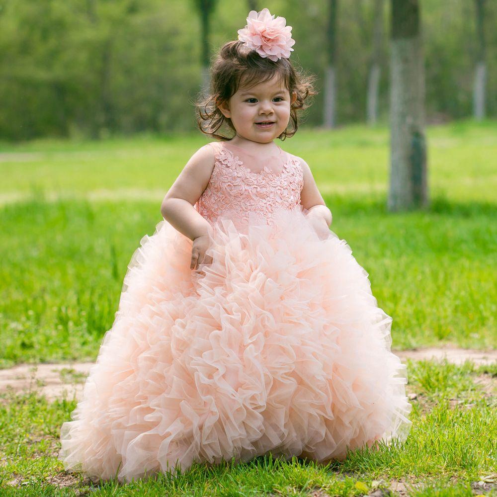 Şeftali Balo puf fırfır kızlar etek Çiçek Kız Elbise 3d-Çiçek Aplikler Kızlar Pageant Elbise Tatil Bahçe Püskül Tül cupcake