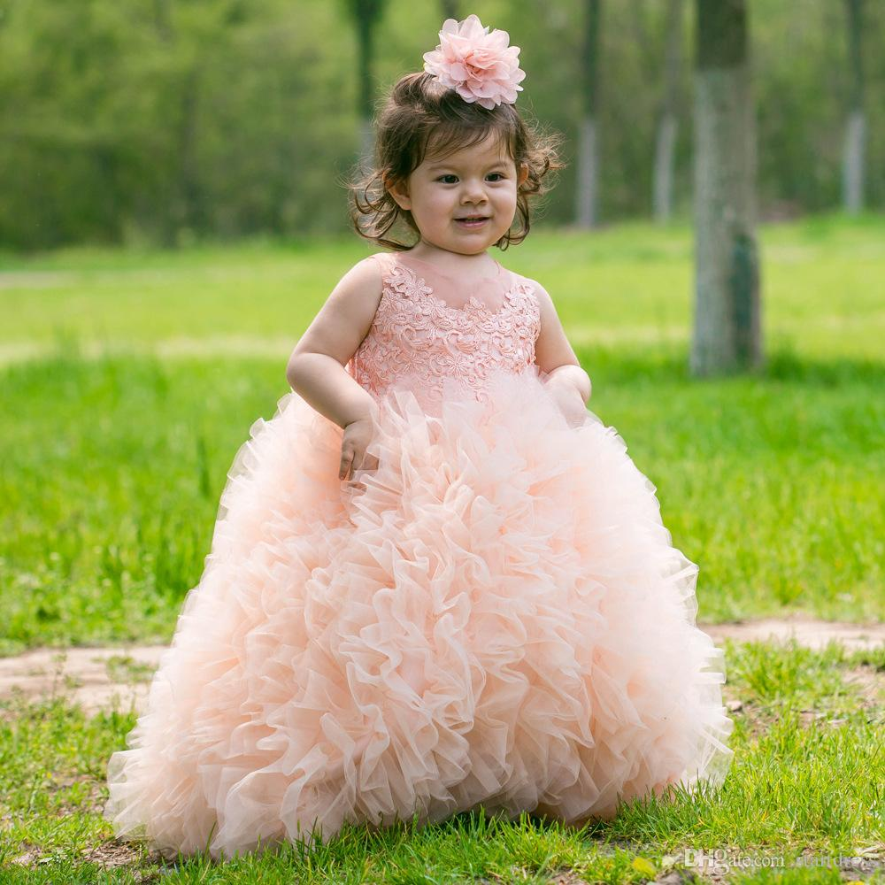 Peach Ball Gown Puffy Ruffle Girls Gonne Flower Girls Dresses 3d - Floral Appliques Girls Pageant Dress Holiday Garden Nappa Tulle cupcake