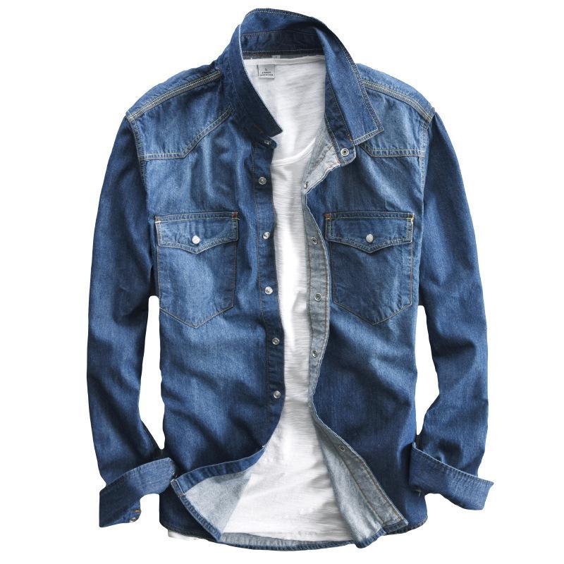 Mode Doux Printemps Laver Hommes Deux Chemises Longues Xxxl En Manches Bleu Nouveau Jean À Homme Chemise M Poches Pour Slim Rétro CerdBWxo