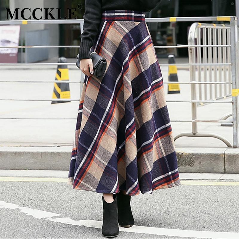 561fc598c Venta al por mayor-MCCKLE falda de mujer gruesa de lana escocesa de Europa  Estilo imperio de invierno Faldas maxi larga de las mujeres plisada de lana  ...