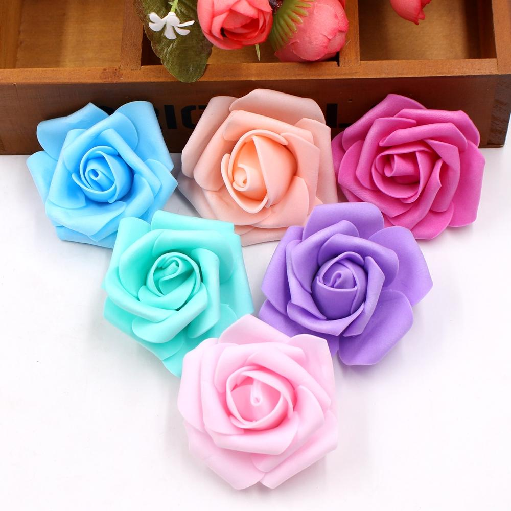 100pcs /Lot 6 Cm Foam Artificial Rose Flowers Head For Wedding Car Decoration Diy Garland Decorative Floristry Fake Flowers