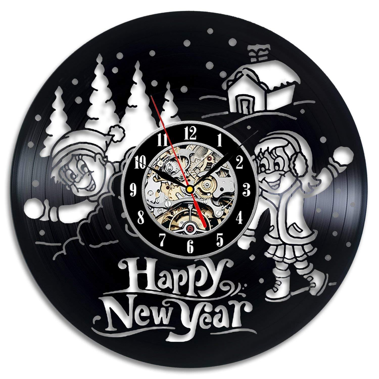 happy new year vintage theme decor ultra home decorative wall mounted clocks for walls stickers family room art hanging for new design small round clocks