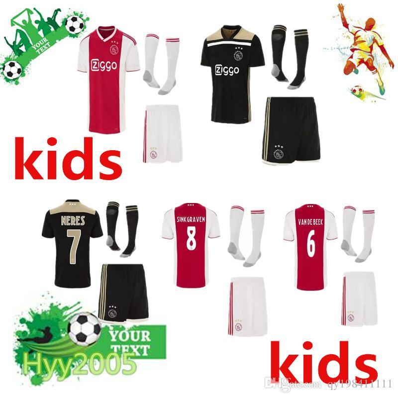 39ed3034 2018 2019 Best Ajax kids Soccer Jersey kits + socks 18 19 Ajax Home Away  Children Soccer Shirt 2019 Customized KLAASSEN NOURI football shirt