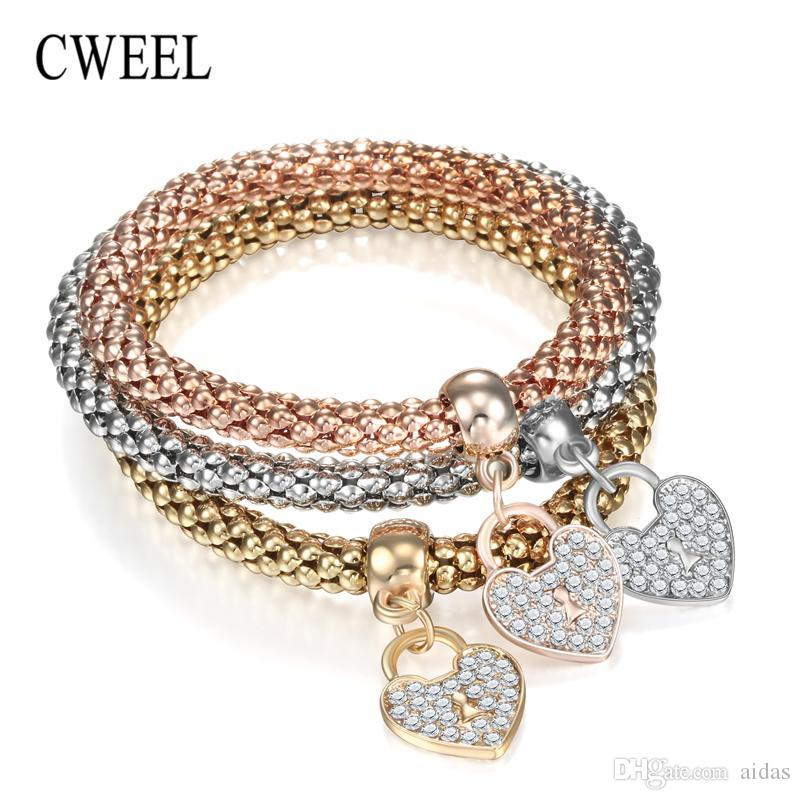 Wholesale- CWEEL Bracelets for Women Charms Heart Pendant Imitation Crystal Metal Bracelet Jewellery Rose Gold Silver Color Bead Bracelet