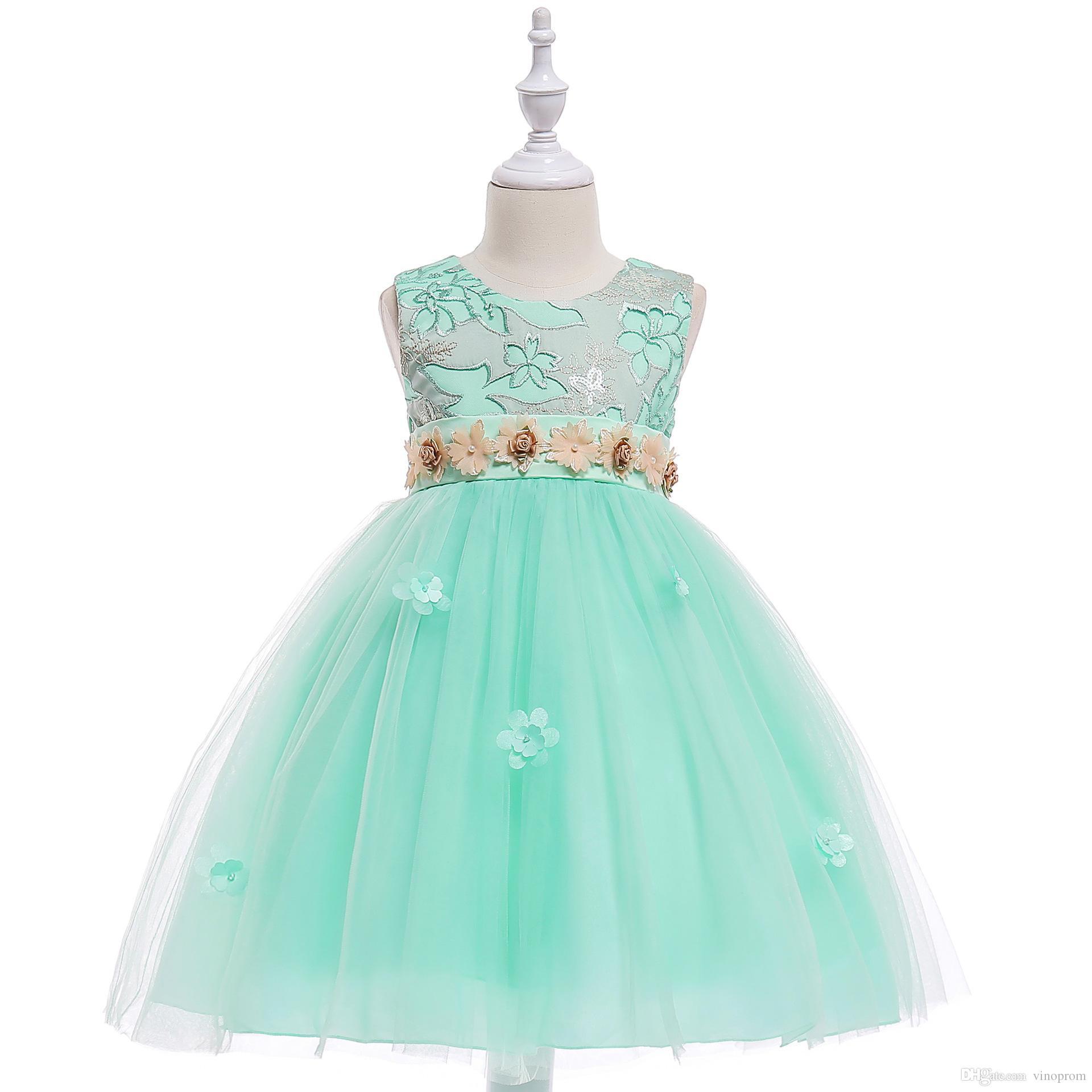 30b2c253a09e Baby Girls Dress Princess Birthday Party White Princess Flower Girls ...