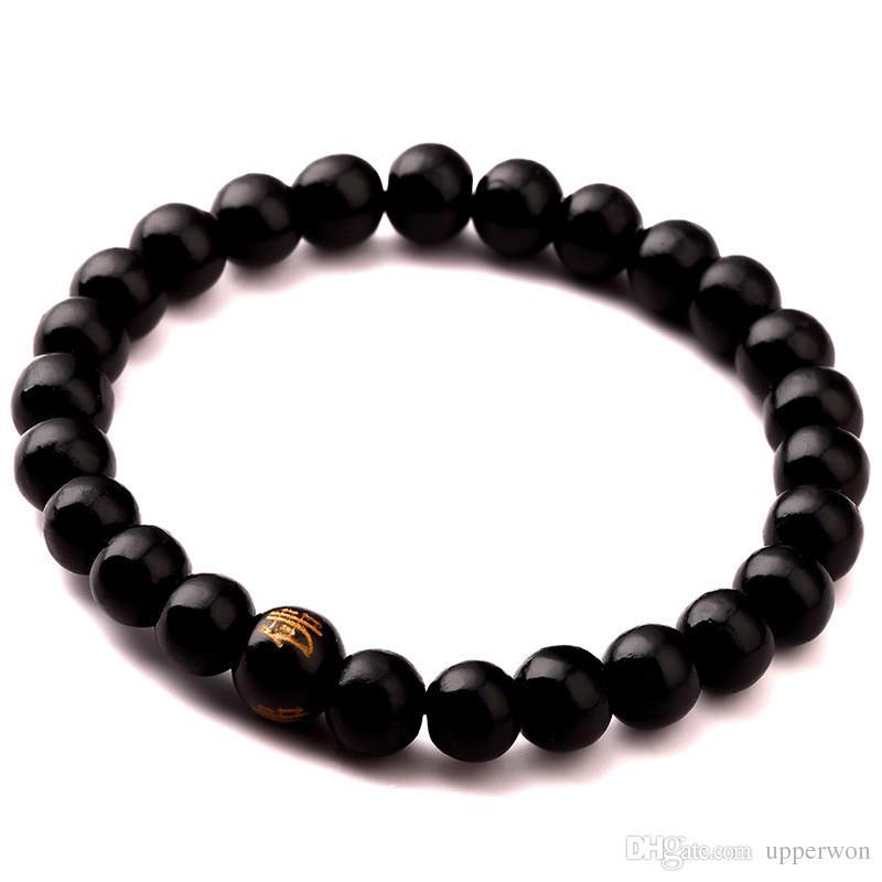 Yeni Erkekler Doğal Ahşap Boncuk Bileklik Siyah Mat Meditasyon Namaz boncuk bilezik Kadınlar Ahşap Mücevher, Takı Yoga