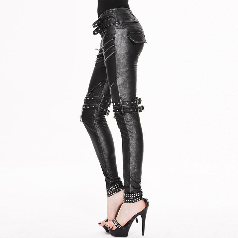 Devil Fashion New Winter Gothic Punk PU Stitching Rock Fashion Women Pants ZiPPers Tight Female Personality Leather Pencil Pants