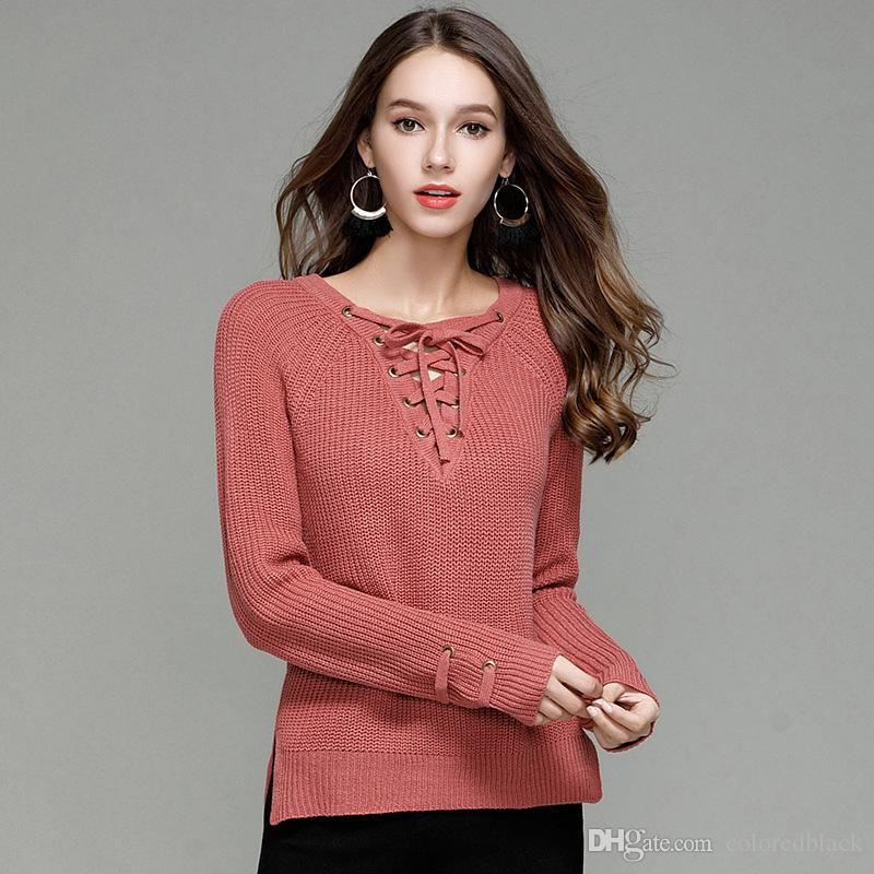 2018 Women Sweater Pullover Autumn Winter Sexy Slim Long Pullovers Thick Warm Female O-neck Pullover Long Sleeved Knittwear Hiking T-shirts