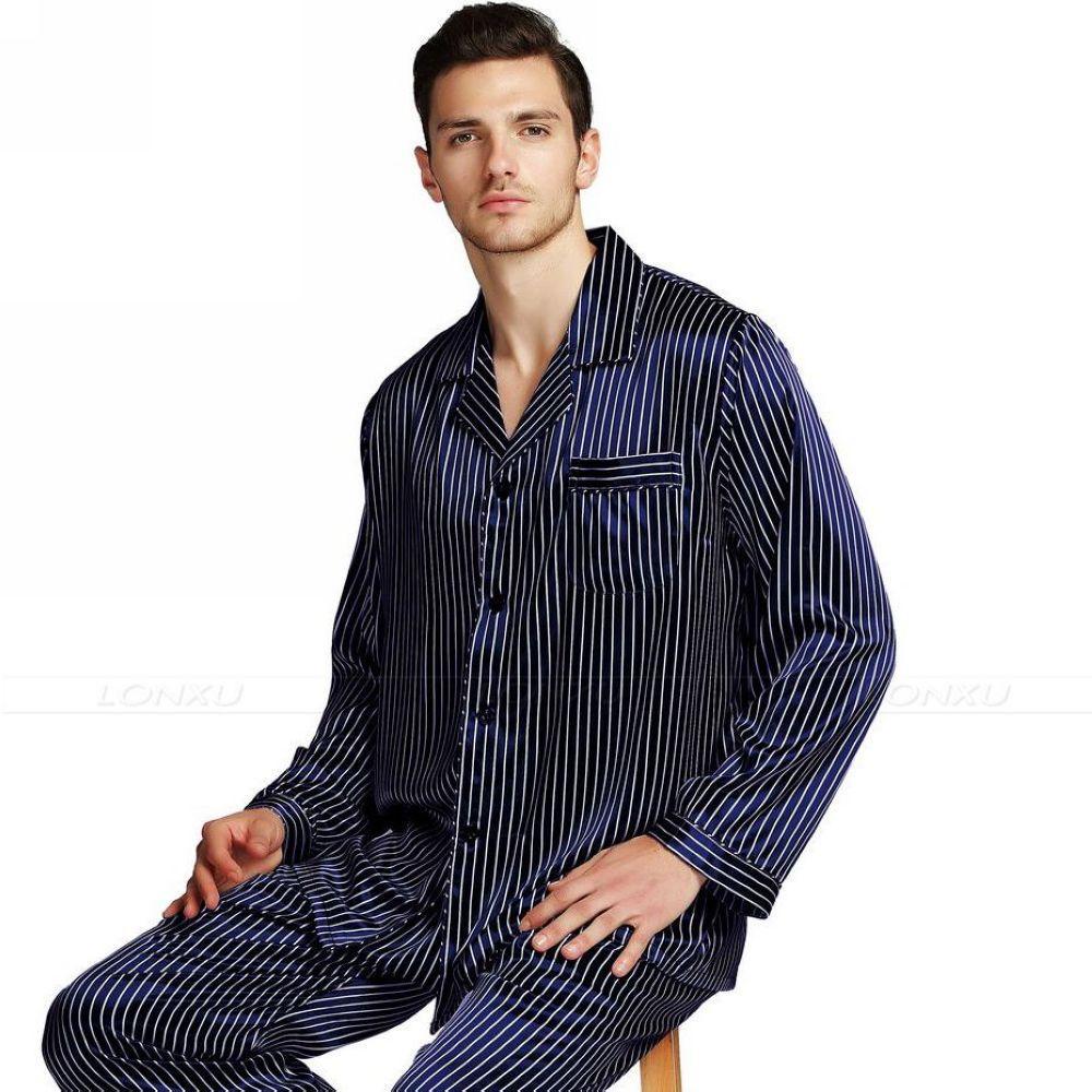 2019 Perfect Gifts  Mens Silk Satin Pajamas Set Pajama Pyjamas PJS  Sleepwear Set Loungewear U.S b6e65da0b
