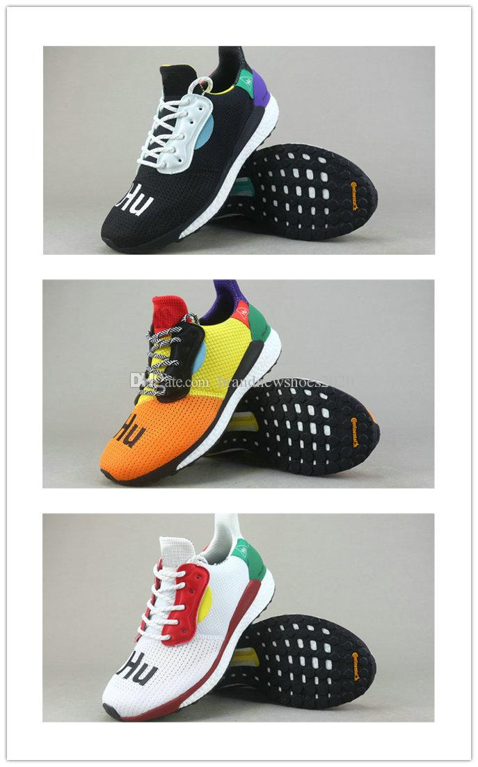 49548b64471ce With Box Human Race Pharrell X Solar Hu Glide ST Running Shoes Pharrell  Williams Hu Trail Cream Core Black Equality Trainers Sports Sneakers Black  Running ...