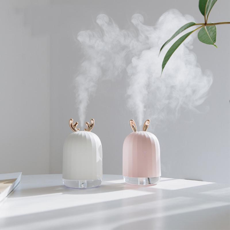 Interior Accessories Christmas Deer Air Humidifier Usb With Led Night Lamp Colorful Rabbit Ultrasonic Humidifier Oil Diffuser For Home Office Car Air Freshener
