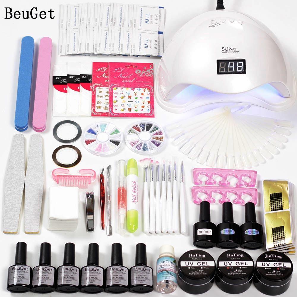 Nail Art Tools Uv Gel Kits With Lamp 6w/48w Led Curing Nail Polish Base And Top Set For Manicure Varnish Gel Nail Art Online Nail Art Equipment From Goddare ...