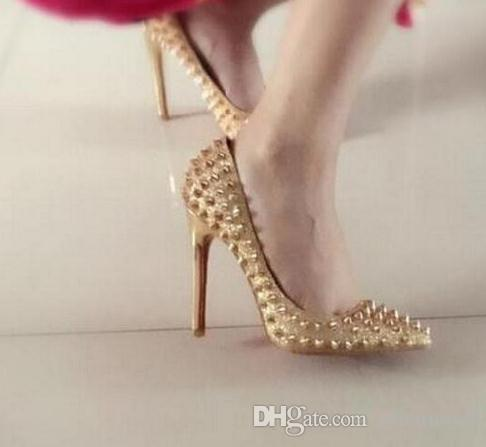 02c09a722e0 2018 Hot Sales Brand Glitter Red Bottom Spiked High Heels Women Luxury Red  Sole Shoes Sequins heels Party Wedding Shoes Pointed Toe Pumps