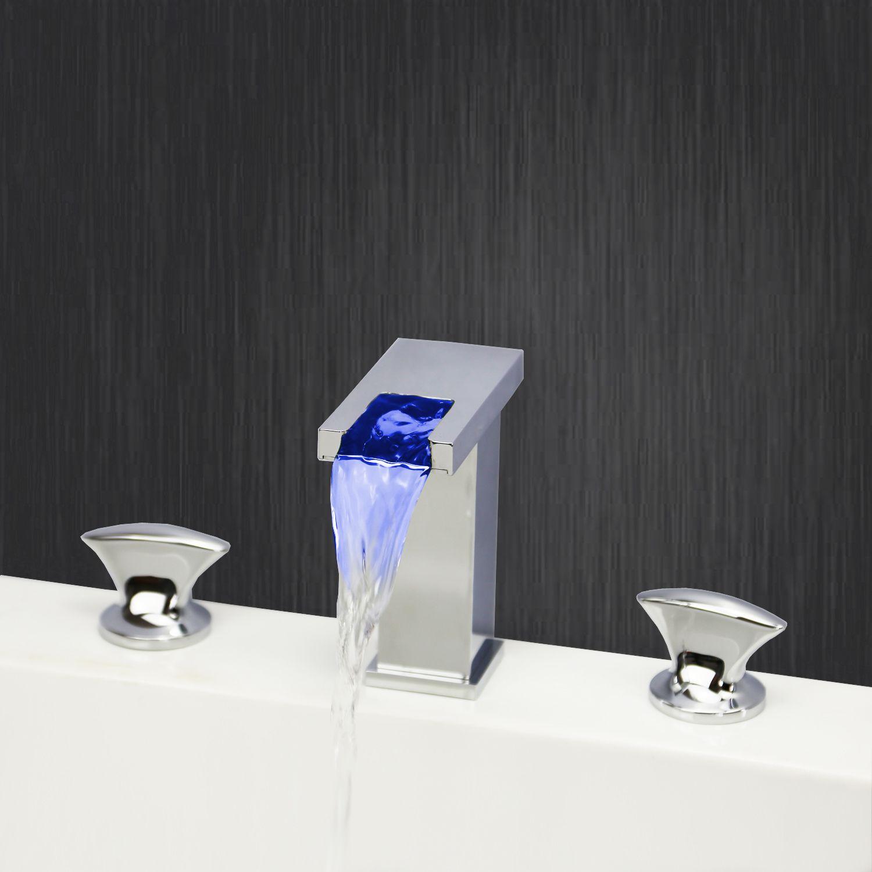 LED Chrome Finish Bathroom Basin Faucet Double Handles Deck Mount ...