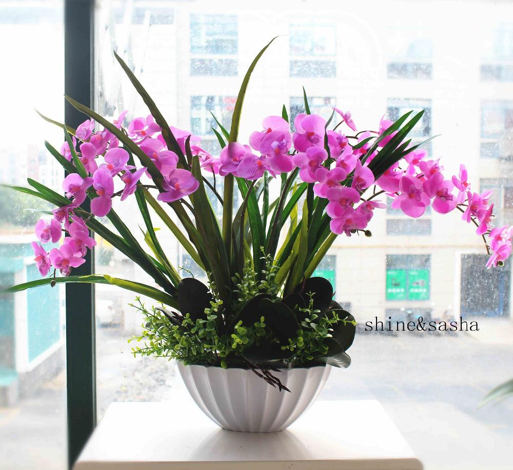DHgate.com & 1 set flower vase orchid Phalaenopsis real touch flower with leaves artificial arrangement with vase