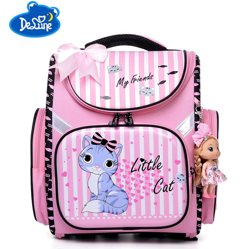 Delune Kids Cut Cartoon School Bags Nylon Waterproof Orthopedic Children  Backpack For Girls School Bags For 1 3 Grade Rucksack Y18100805 Rolling  Backpack ... f7e869000e