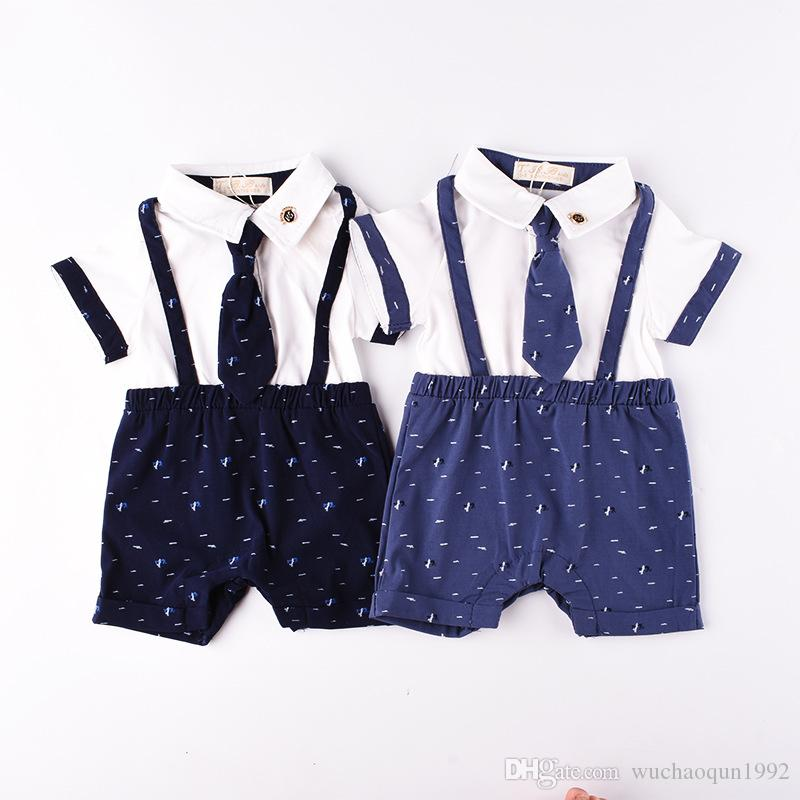 601748ed 2019 Baby Rompers Summer Cotton Gentleman Baby Jumpsuit Necktie Newborn  Romper Boys One Piece Clothing Bodysuits Baby Clothes Kids Romper BY0257  From ...