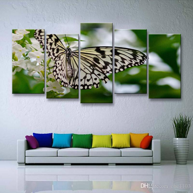 high-definition print butterfly canvas painting poster and wall art living room picture B-082