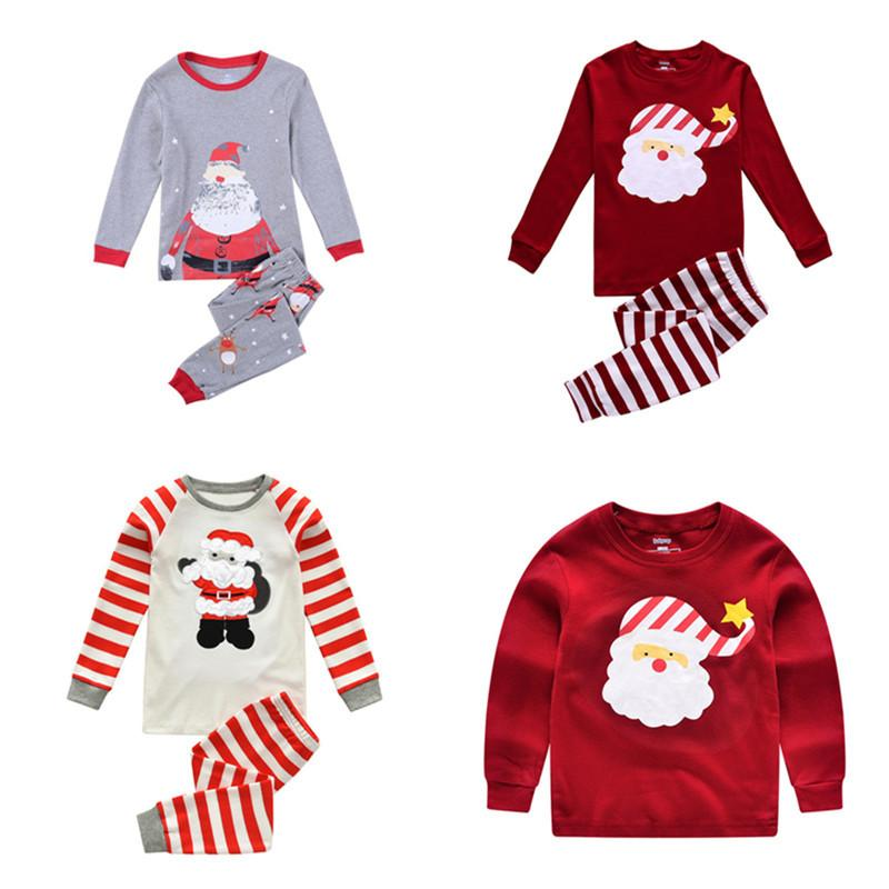 Christmas Kids Pajamas Set Xmas Santa Claus Children Sleepwear Night Wear  Autumn Winter Sleepcoat Striped Cotton Pyjamas 2PCS Outfits 2T-7T