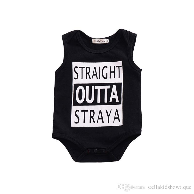 Hot Sales Newborn Infant Baby Girls and Boys Romper Sleeveless Black Jumpsuit Letter Printed Children Tops