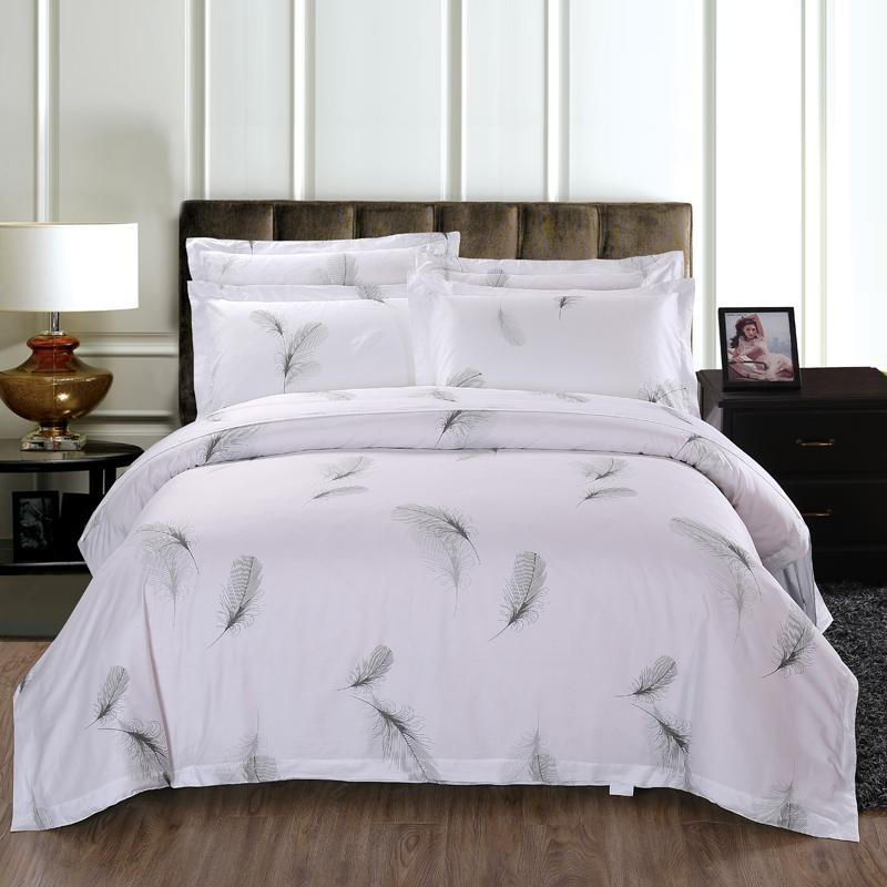 Good Bedding Set 100% Cotton Bed Linen Hotel White Feather Bed SetsDuvet Cover+ Sheet+Pillowcase Edredon Ropa De Cama Queen Duvet Cover Sets Brown Bedding  Sets ...