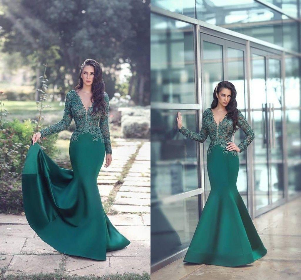 0f4cddbeb88ab Sexy 2018 V Neck Dark Green Saudi Lace Dubai Evening Dresses Wear Appliques Long  Sleeves Sweep Train Arabic Formal Party Mermaid Prom Dress Ladies Occasion  ...