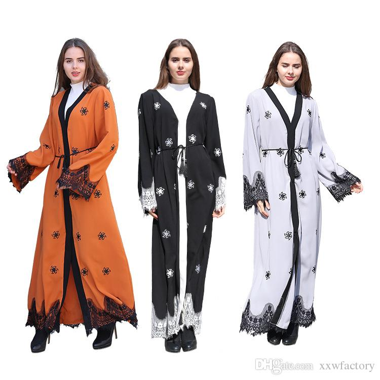 New Muslim Abaya Arab Turkish Dubai Garment Ethnic Large Size Lace Jubah  Jilbab Kaftan Burqas Costumes American Muslims Women Dress