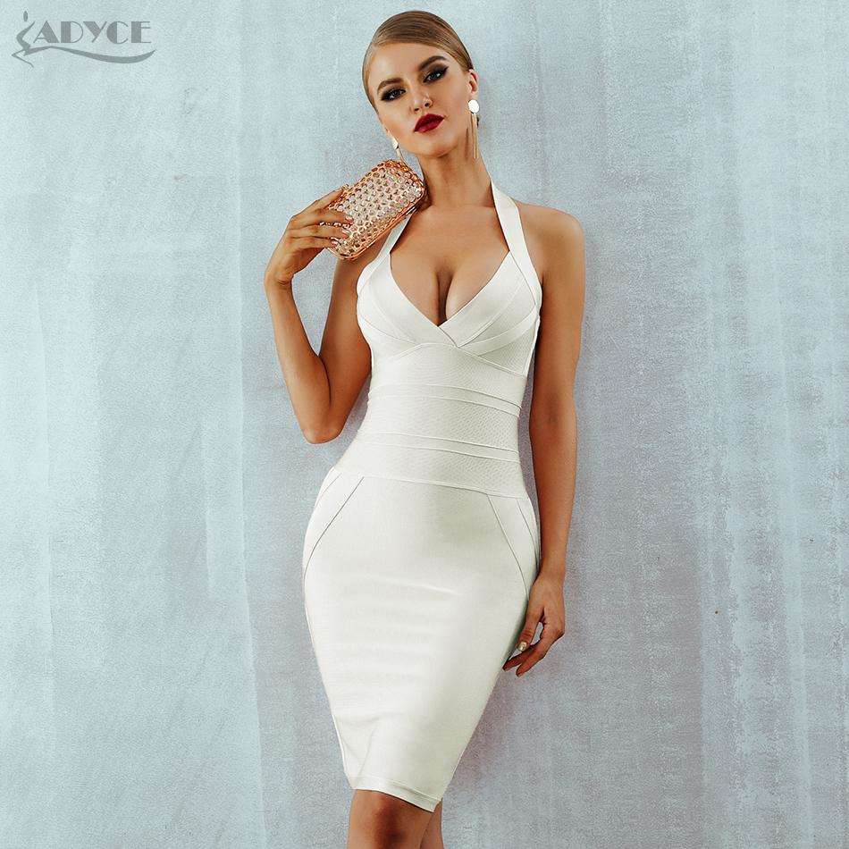 a204394235a 2019 ADYCE Summer Women Bandage Dress Vestidos Verano 2018 New Sexy Halter  Backless Sleveless Bodycon Clubwears Celebrity Party Dress S919 From  Huang02