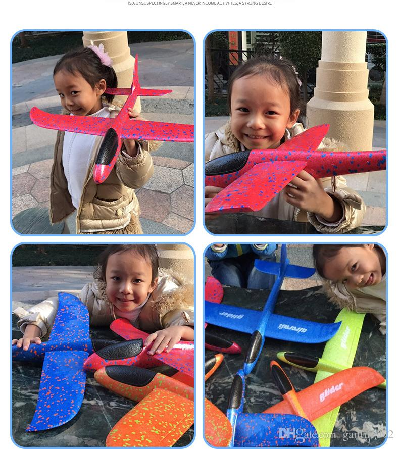 Foam 48cm Color Hand Throwing Glider Cyclotron Kids Aircraft Model Toys Creative Mini Airplane For Kids Early Education 10mn Z