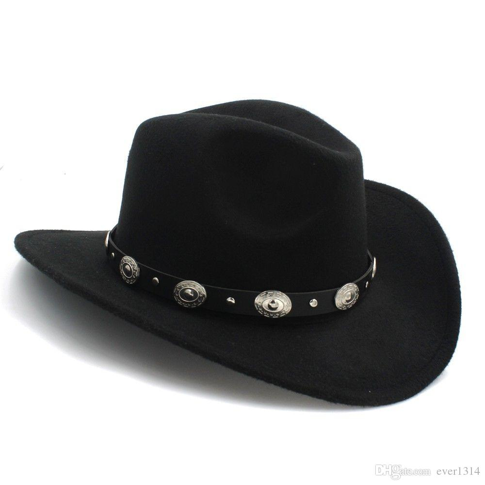 f314c2690ed Men Women Wool Panama Hats Cowboy Western Caps Wide Brim Sombrero ...