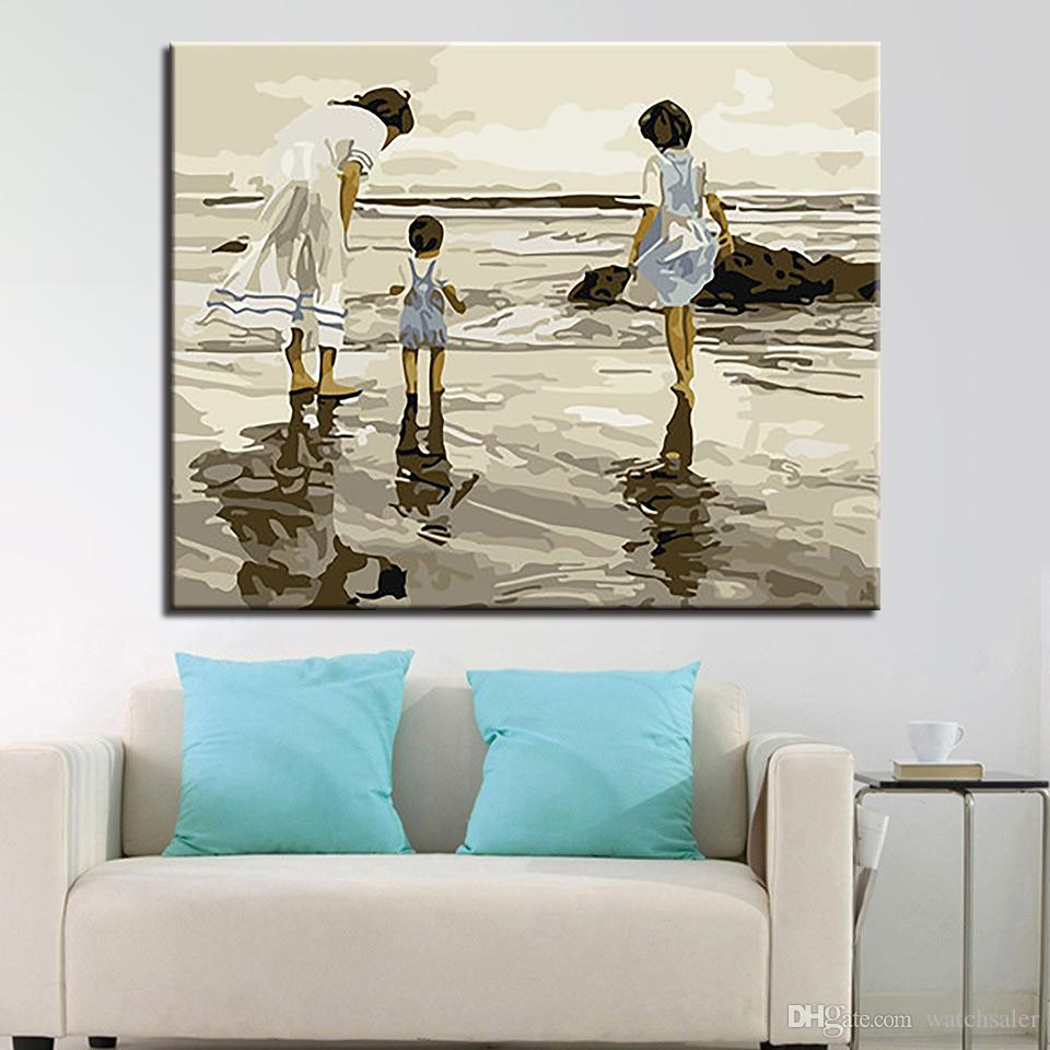 Framework Painting By Numbers DIY Oil Pictures Color Handpainted Girls Playing By The Sea On Canvas Wall Art Scenery Home Decor