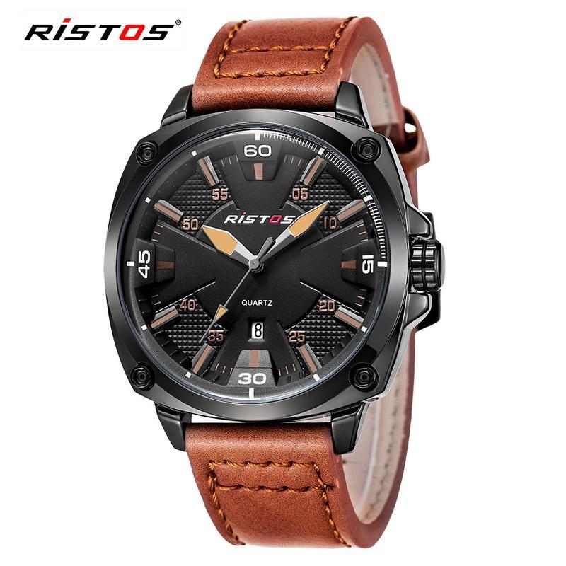 14dc484b9ea1 RISTOS Men Sport Watch Casual Genuine Leather Quartz Watches Reloj  Masculino Wristwatch Relojes Hombre Montres 93003 Skeleton Watch Watches Of  Switzerland ...