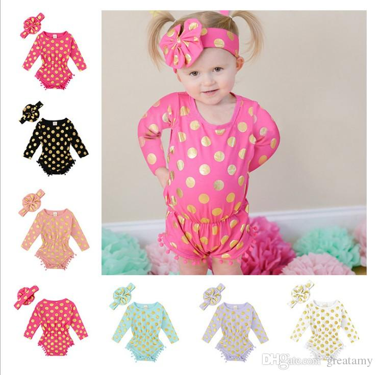 Wholesale Cotton ball dots bronzing long sleeved one-piece baby rompers with headband infant toddler jumpsuit kids outfits
