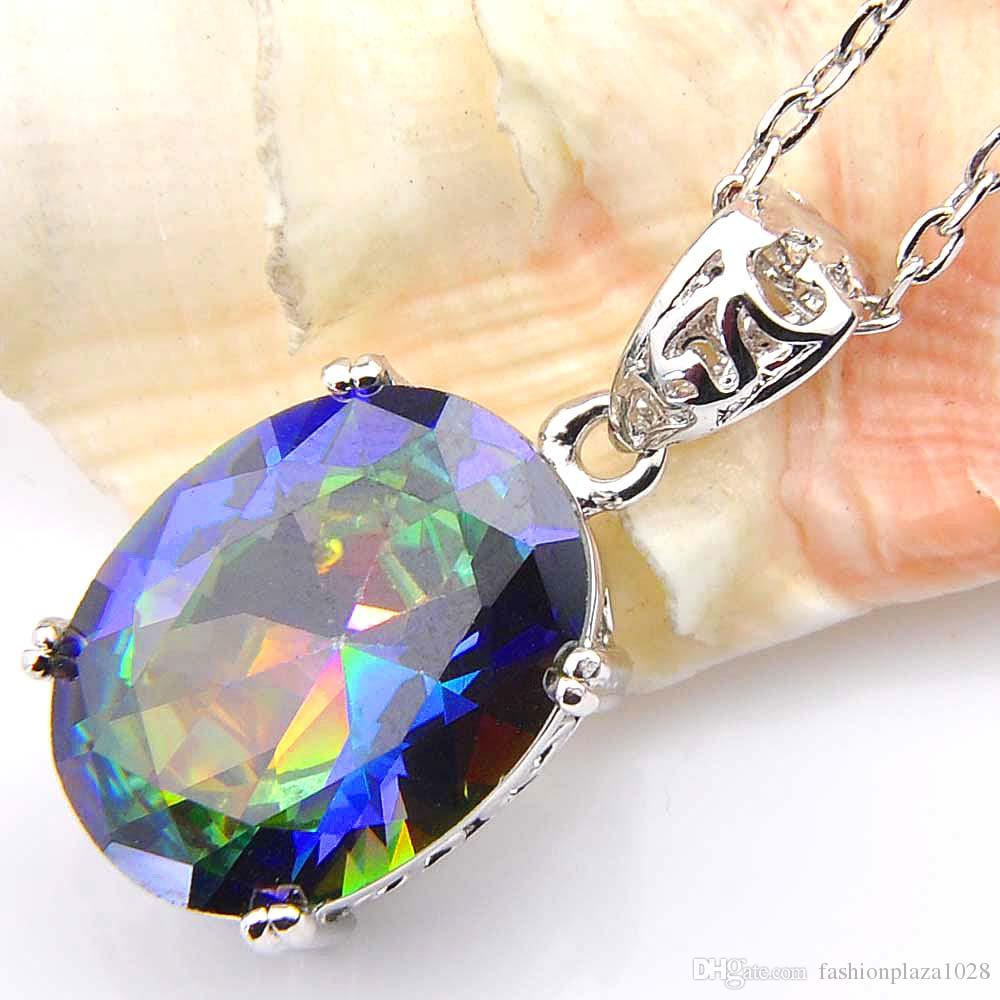 Luckyshine Classic Oval Fire Mystic Topaz For Women Rainbow Zircon 925 Silver Pendant Party Holiday Canada Mexico Jewelry Gift 1
