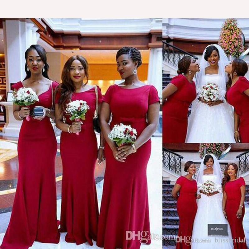 3bd92ff64818 Scoop Neck Short Sleeve Mermaid Bridesmaid Dresses 2018 Simple Long Red  Wedding Guest Dresses Maid Of Honer Dress Wedding Party Gown Cadbury Purple  ...