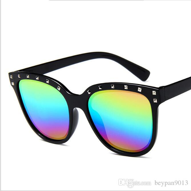 0e697197a0 2019 2018 Fashion Men Women Madame Cat Eye Rivet Sunglasses Mirror Lens  High Quality Personality Sun Glasses Shades Eyewear Oculos UV400 From  Beypan9013