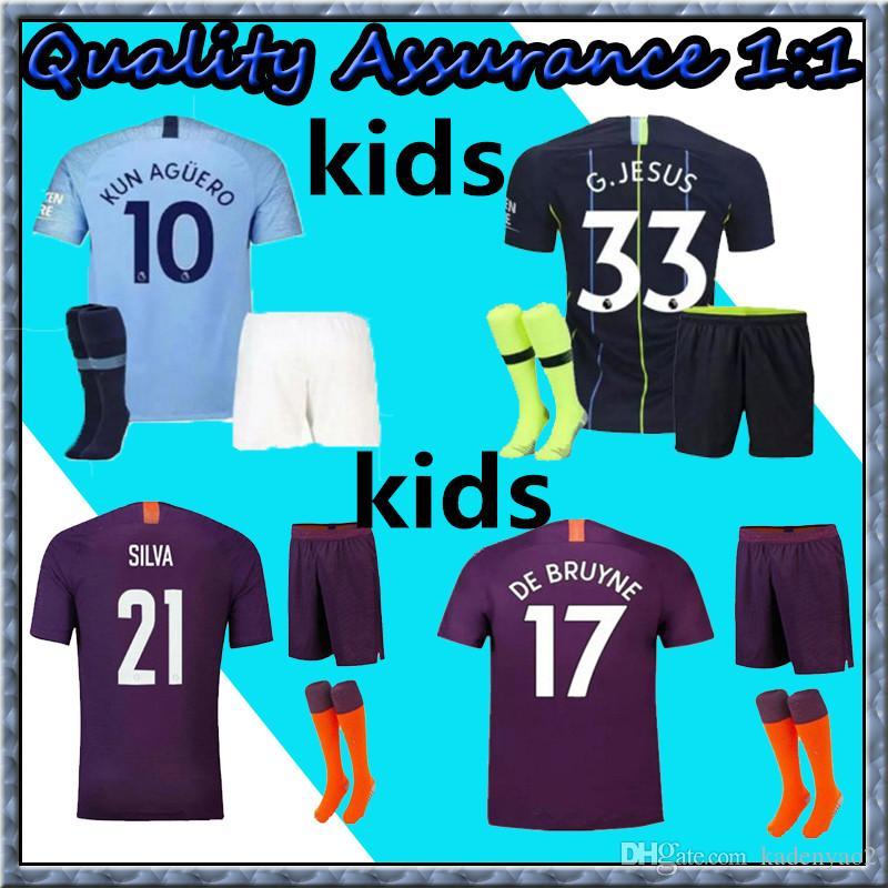 bd6e8ba40 Kids Kits 2018 2018 Manchester City MAHREZ KUN AGUERO DZEKO Soccer ...
