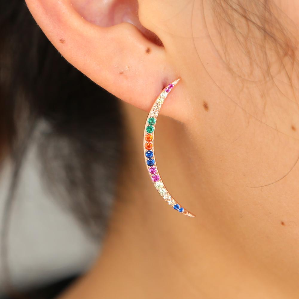 029cf88509a6 2019 2018 Rose Gold Color 925 Sterling Silver Rainbow Color Cz Moon Nice  Skinny Crescent Moon Stud Christmas Colorful Cz Earring From Wedding163