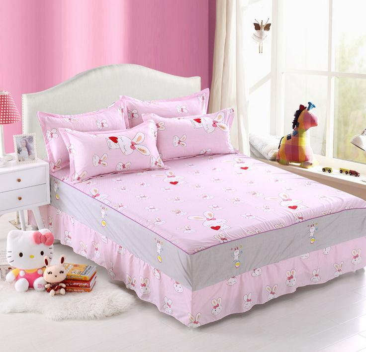 Pink Twin Full Queen Size Bed Skirt With Elastic Bedspreads Bedding