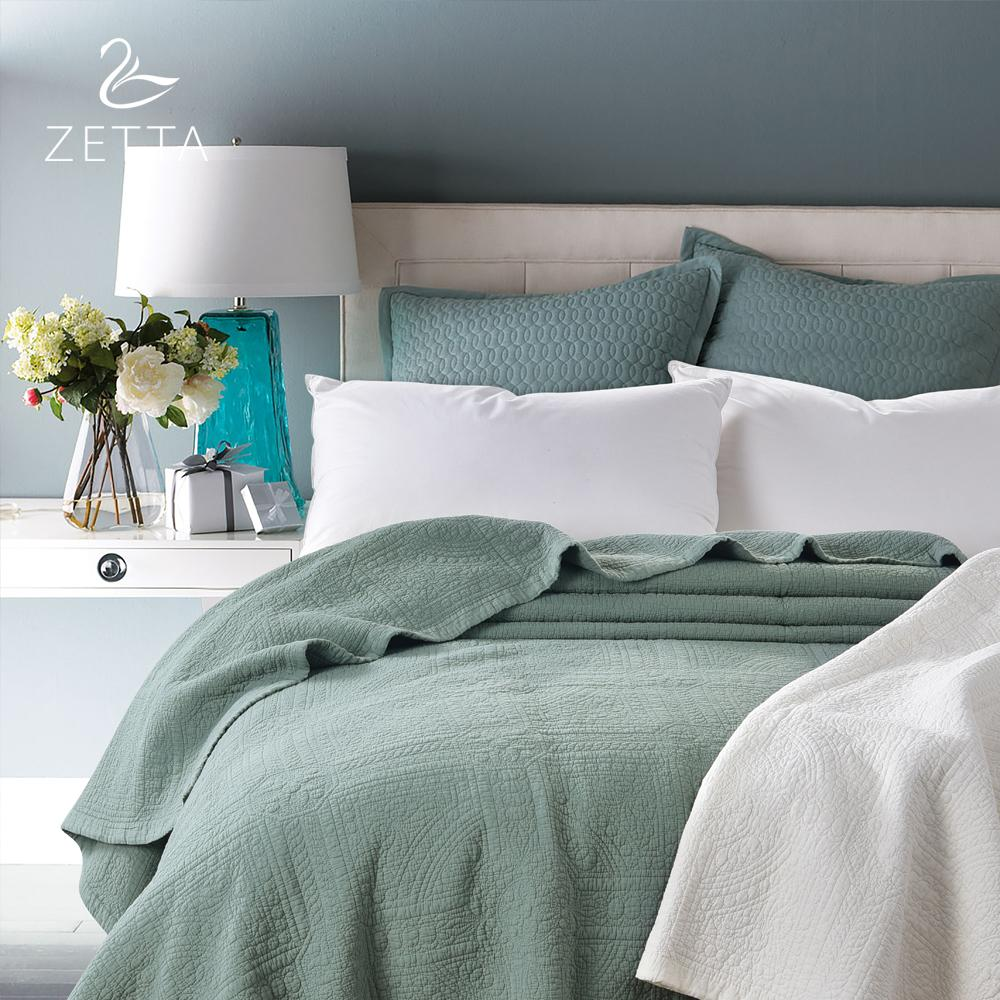 Zetta 100% Pure Cotton Quilted Sheets Dark Green Bed Cover Bedding  200*230cm 0004 Custom Bedspreads Cream Bedspread From Bright689, $150.48|  Dhgate.Com