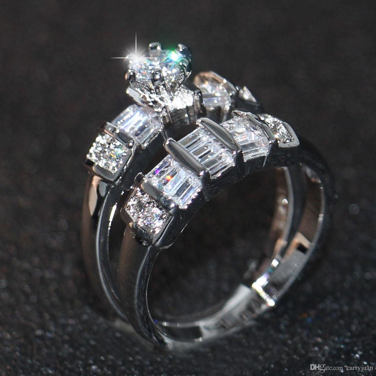 Victoria Wieck New Arrival Fashion Jewelry 10KT White Gold Filled Round Shape Topaz CZ Diamond Gemstones Party Women Wedding Couple Ring Set