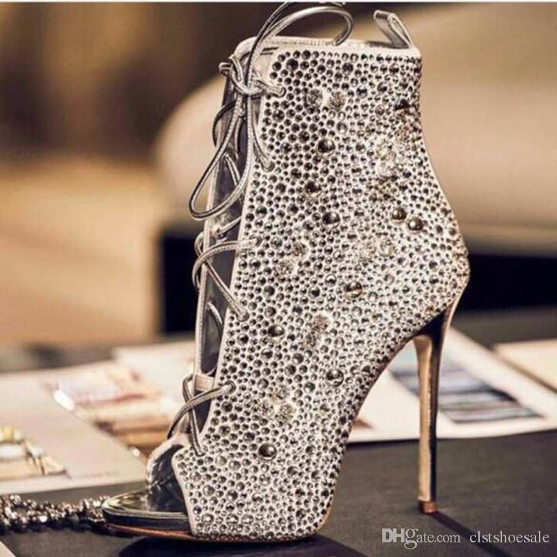 Hot Selling Women Luxury Peep Toe Gold Silver Rhinestone Stiletto Heel  Gladiator Boots Lace Up Crystal High Heel Ankle Booties Dress Shoes Wedge  Boots ... c7bdfc163db8