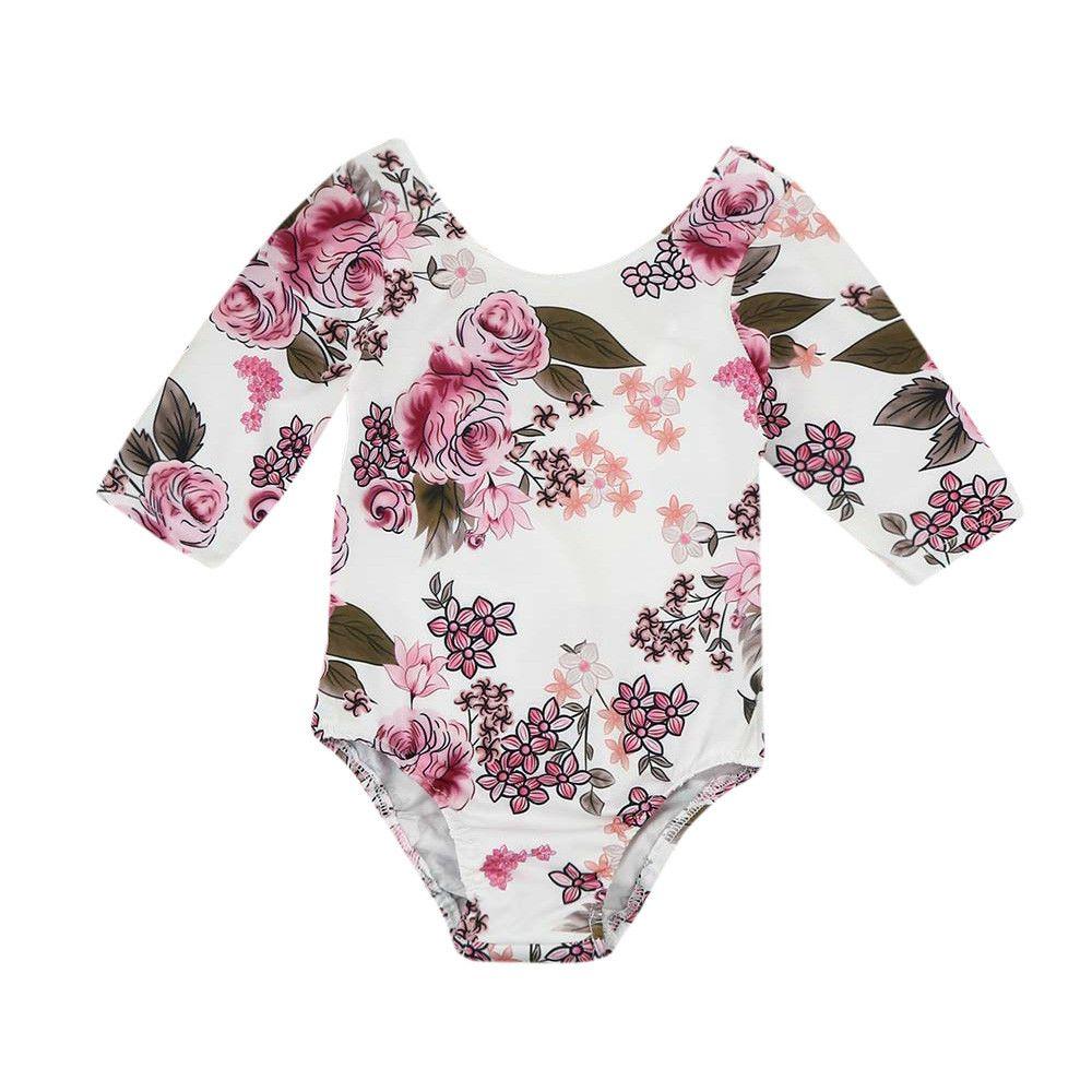 3b33cf56f 2019 Newborn Toddler Baby Girls Floral Print Bodysuit Jumpsuit ...