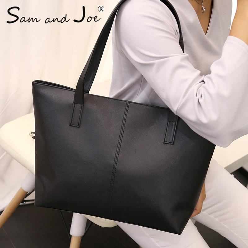 2019 Fashion Light PU Leather Women Handbags Female Simple Soft Tote Bag  Large Capacity Shoulder Bags Black Red Ladies Casual Shopping Bags Hobo Bags  ... f9b782650c0a9