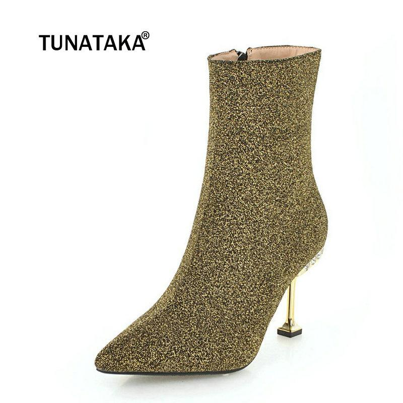 2efd0fc7cd3 Ladies Sequined Cloth Sexy Thin High Heel Ankle Boots Fashion Zipper  Crystal Boots Women Pointed Toe Warm Winter Shoes Black Red Cute Shoes Boots  From ...