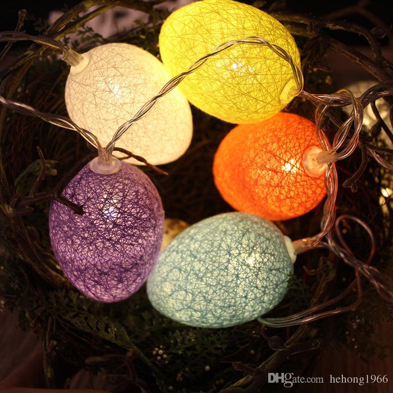 LED String Lights Outdoor Multicolor Filato di cotone Round Ball Coloregg Lamp Strings Christmas Easter Trees Decorazione del partito del giardino 8 82wc Y