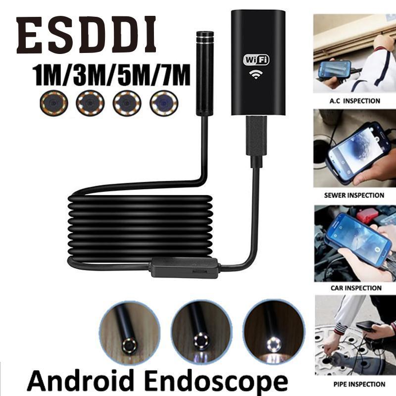 Esddi New 8mm 720P 8LED 1/3/5/7M WiFi Endoscope Waterproof Video Camera For Android iOS Phone PC Snake Inspection Tube Pipe Gift