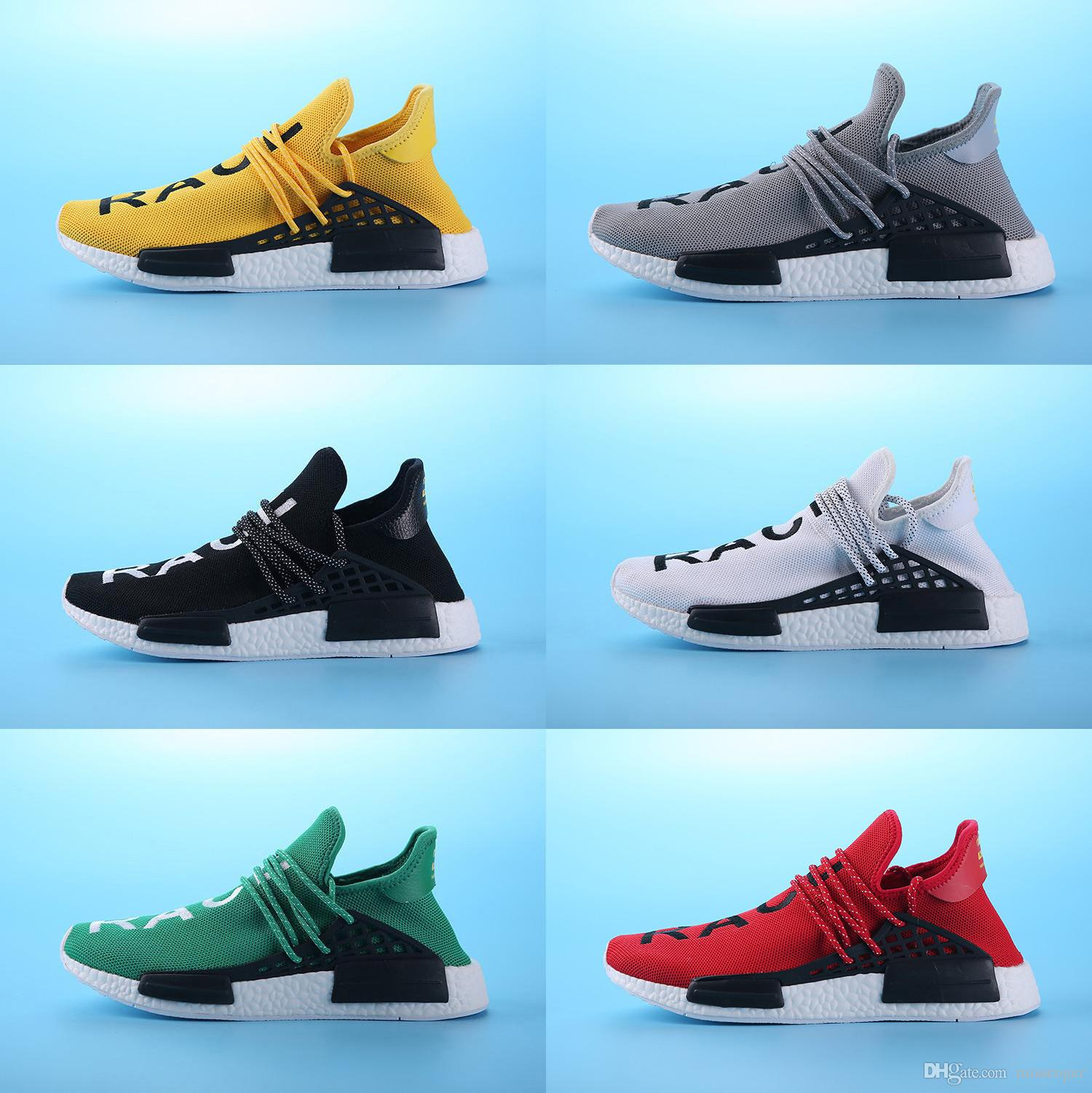 6d582181a 2019 Pharrell Williams HUMAN RACE In Yellow Red Black Blue Grey Green White  Men Women Classic Sport Sneakers Running Shoes Eur 36 47 From Missroger