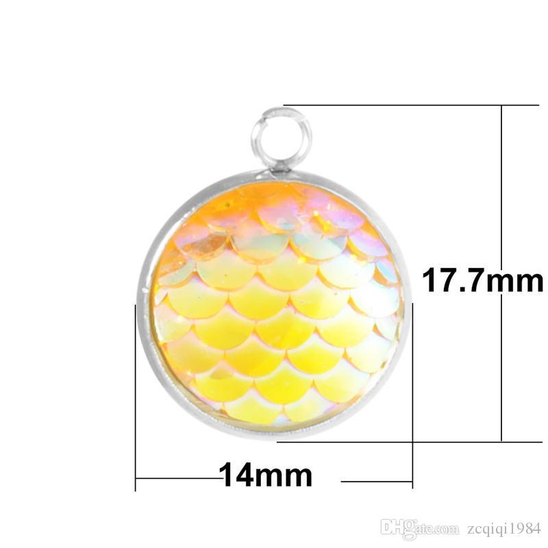 Joyería de moda de Acero Inoxidable 14 MM Escala Sirena Colgante de Los Encantos Para Los Pendientes Del Collar de Belleza de Pescado Escala Encanto de La Joyería que Hace Suministros
